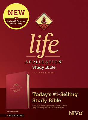 Picture of NIV Life Application Study Bible, Third Edition (Red Letter, Leatherlike, Berry)
