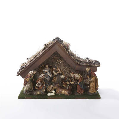 12 inch Nativity Set with Stable and 10 Figures