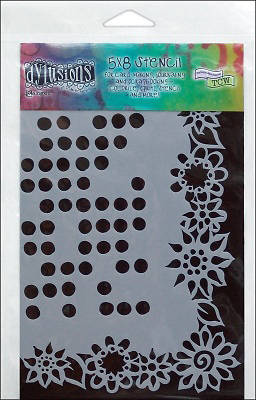 Dylusions Dotted Flowers Stencil (5