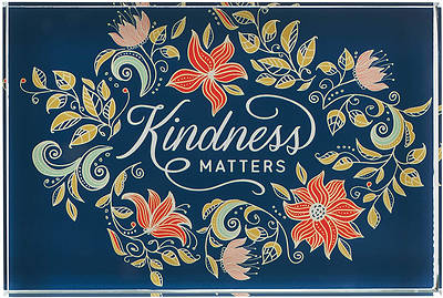Picture of Kindness Matters Blue Floral Glass Plaque