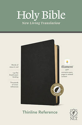 Picture of NLT Thinline Reference Bible, Filament Enabled Edition (Red Letter, Genuine Leather, Black, Indexed)