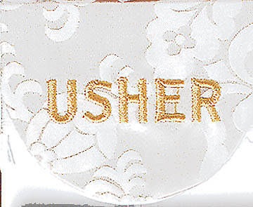 White Usher Pocket Badge - Package of 4