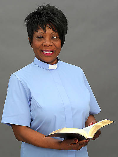 Reliant Short Sleeve Clergy Blouse with Tab Collar