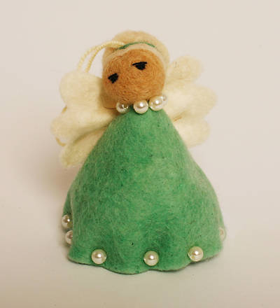 Felt Angel Ornament - Green Dress