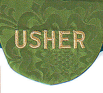 Green Usher Pocket Badge -Package of 4