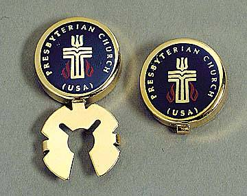 Button Covers Presbyterian Seal Polished Gold Navy
