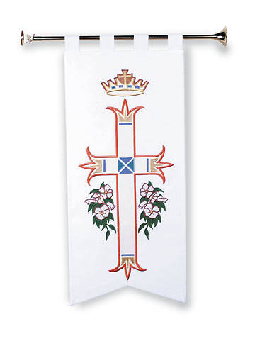 Crown Over Cross with Lilies Seasonal Banners
