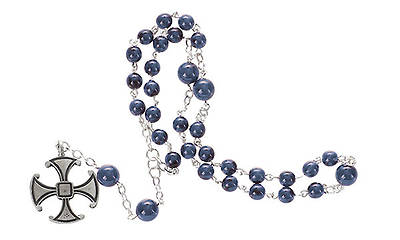 Prayer Beads Blue Glass with Canterbury Cross