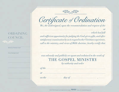 Picture of Ordination Flat Certificate