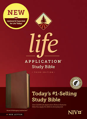 Picture of NIV Life Application Study Bible, Third Edition (Red Letter, Leatherlike, Brown/Mahogany, Indexed)