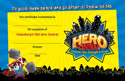 Vacation Bible School VBS Hero Central Student Certificates (Pkg of 48)
