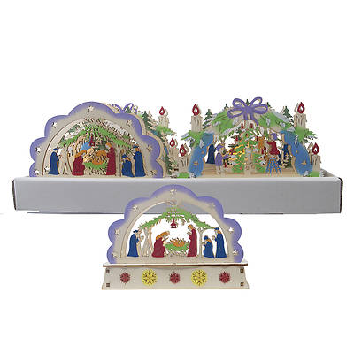 """Picture of LED Wonderland Nativity Tree Tabletop 6"""""""