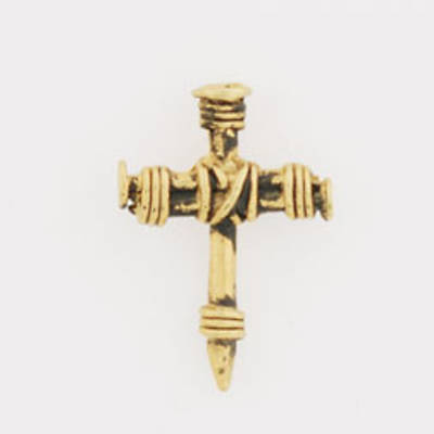 Gold Plated Lapel Pin - Wrapped Nails Cross