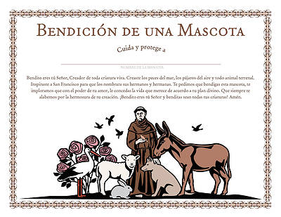 Benedici?n  de una mascota -  Spanish St. Francis Blessing of a Pet Certificate - Download