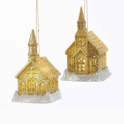 Gold and Silver Acrylic Glitter Church Ornament 4