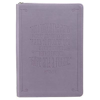 Picture of Purple Lux-Leather Journal W/ Zipper I Know the Plans