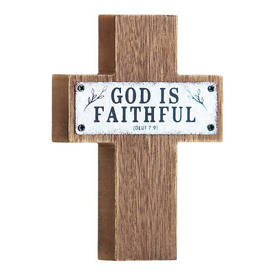 """Picture of Faithful MDF Wood and Metal Cross 5.5"""""""