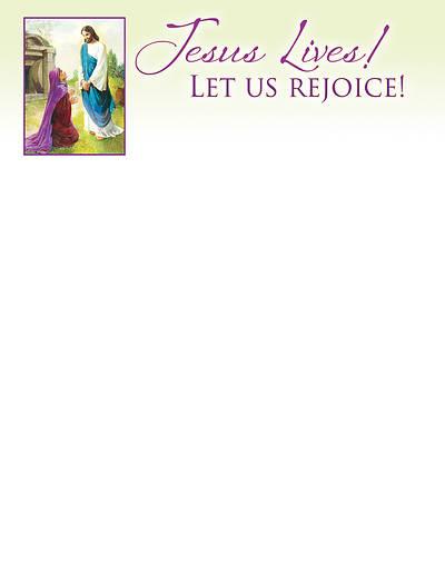 Picture of Jesus Lives! Let Us Rejoice! Easter Letterhead