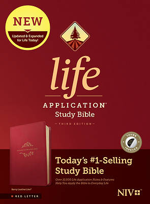 Picture of NIV Life Application Study Bible, Third Edition (Red Letter, Leatherlike, Berry, Indexed)