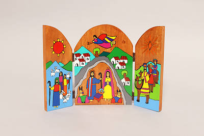 Wood Tri-Fold Nativity Scene - El Salvador