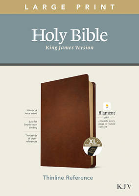 Picture of KJV Large Print Thinline Reference Bible, Filament Enabled Edition (Red Letter, Genuine Leather, Brown, Indexed)