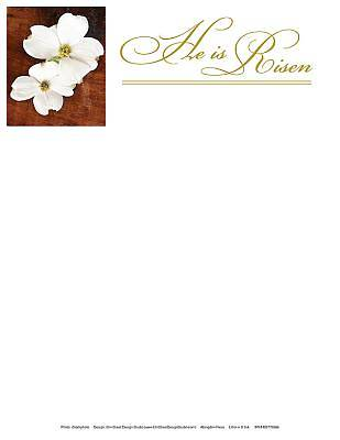He Is Risen Easter Dogwood Letterhead (Pkg of 50)