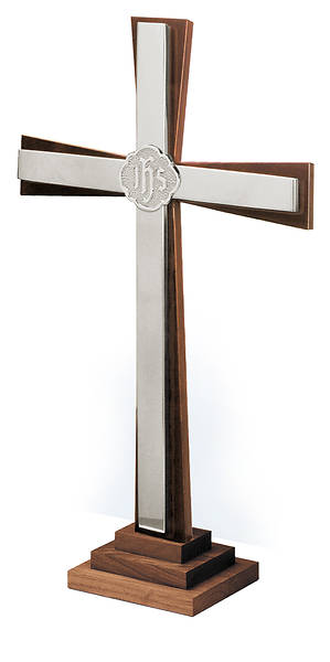 "Picture of 24"" SOLID WALNUT CROSS WITH SILVERPLATE ACCENTS"