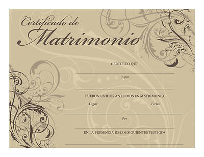 Certificado de Matrimonio –Spanish Certificate of Marriage – Contemporary Design -  Download