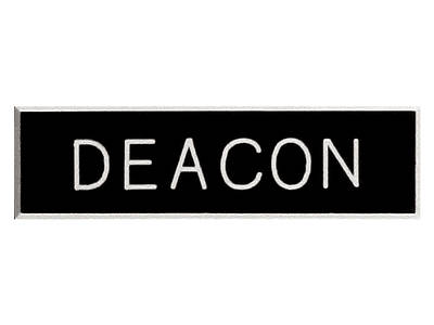Picture of Black and White Deacon Pin-On Badge