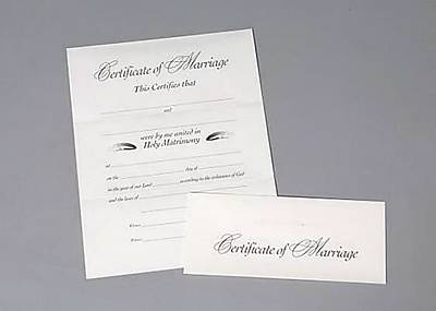Tri-fold Marriage Flat Certificate (Package of 12)