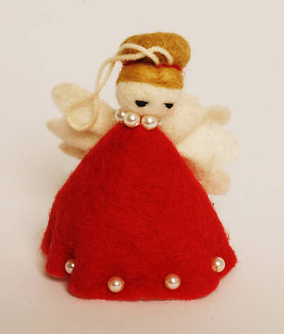 Felt Angel Ornament - Red Dress