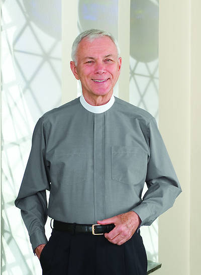 "Signature Long Sleeve Clergy Shirt with Neckband Collar Gray - 18"" - 35"" - 36"""