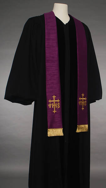 Picture of Purple IHS Cross Stole