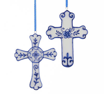 Delft Blue Porcelain Cross Ornament 4