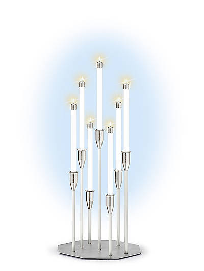 Contemporary 7-Light Table Model Silvertone Candelabra