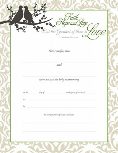 Picture of Certificate of Marriage-Faith, Hope, and Love