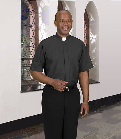 Signature Short Sleeve Clergy Shirt with Tab Collar