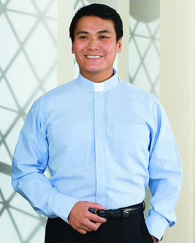 "Signature Long Sleeve Clergy Shirt with Tab Collar Blue - 16 1/2"" - 31"" - 32"""