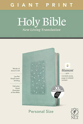 Picture of NLT Personal Size Giant Print Bible, Filament Enabled Edition (Red Letter, Leatherlike, Floral Frame Teal, Indexed)