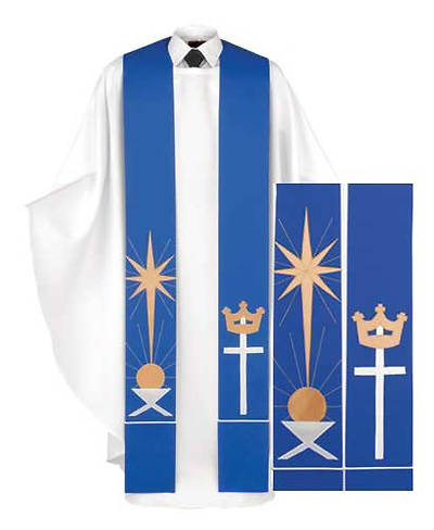 Blue Manger, Star and Cross Stole