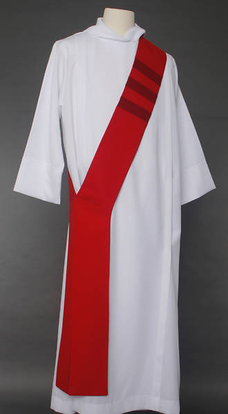 Picture of Trinity Stripe Deacon Stole - Red