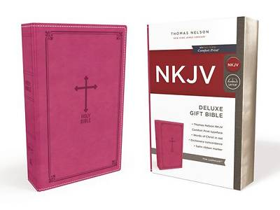 NKJV, Deluxe Gift Bible, Imitation Leather, Pink, Red Letter Edition