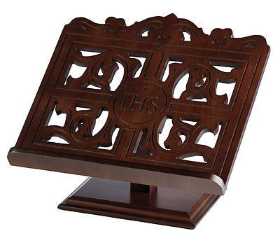 Picture of IHS Carved Wood Bible/Missal Stand - Walnut Finish