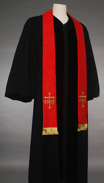 Red IHS Cross Stole