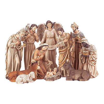 Large Neutral Tone Nativity Set 11 Piece