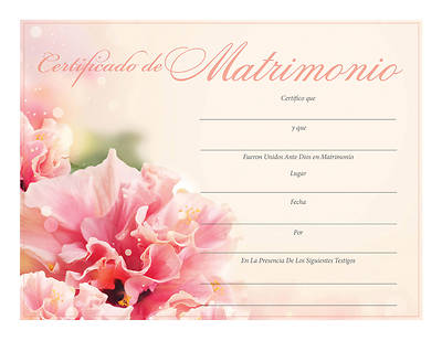 Certificado de Matrimonio – Spanish Certificate of Marriage -Floral Design – Download