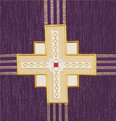 Kingdom Cross Purple Wool Pulpit/Lectern Scarf with Symbol B