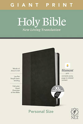 Picture of NLT Personal Size Giant Print Bible, Filament Enabled Edition (Red Letter, Leatherlike, Black/Onyx, Indexed)