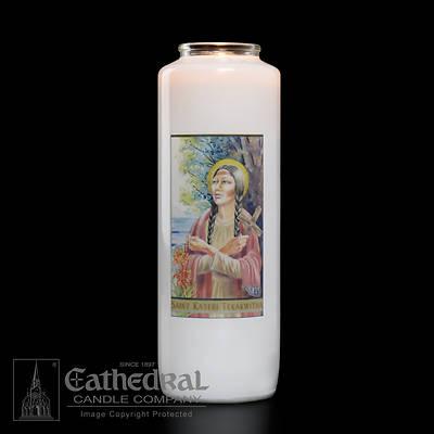Picture of Saint Kateri Tekakwitha 6-Day Glass Prayer Candle