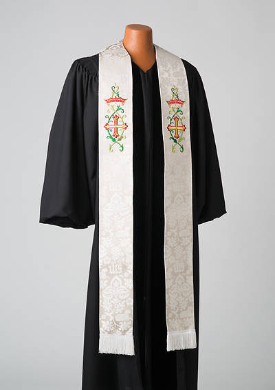 Picture of Abbott Hall 8000 Series White Silk Damask Stole